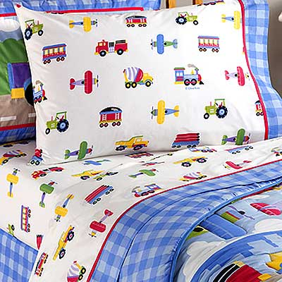 Bedding Queen on Kids Bedding Queen Sheet Set Of Trains  Planes   Trucks By Olive Kids